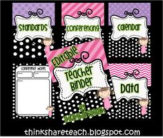 Editable Teacher Binder FREE Think * Share * Teach.LOVE the polka dots and since I need to update mine. Teacher Binder, Teacher Organization, Teacher Tools, Teacher Hacks, Teacher Resources, Teacher Stuff, Organizing, Student Binders, Teaching Ideas