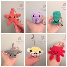 The free crochet patterns for these amigurumi sea creatures are too cute for words! The free crochet patterns for these amigurumi sea creatures are too cute for words! Crochet Diy, Love Crochet, Crochet Crafts, Crochet Dolls, Yarn Crafts, Crochet Projects, Crochet Starfish, Crochet Summer, Scarf Crochet