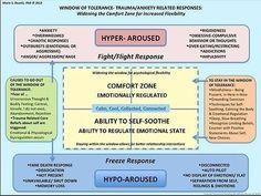 Trauma changes us. Finding your window of tolerance for difficult emotions helps to keep you out of fight or flight or freeze. Trauma Therapy, Therapy Tools, Art Therapy, Mental Health Counseling, Ptsd Counseling, Counseling Activities, Coaching, Emotional Regulation, Family Therapy
