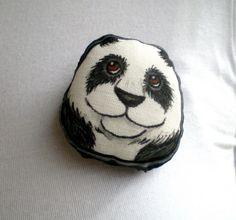 SALE Hand Painted #Panda  #Brooch soft plush art by ShebboDesign, $21.25  so cute !