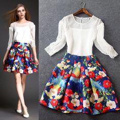 Europe diseñador Runway falda Set 2015 mujeres del verano 3/4 de la manga blanca Top + Flower Print llamarada de la falda 2 unidades traje juego de ropa Outfit en Conjuntos de ropa de Moda y Complementos Mujer en AliExpress.com   Alibaba Group