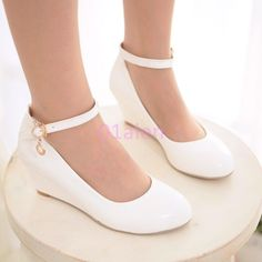 Casual Womens Mid Wedge Heel Ankle Strap Office Pumps Wedding Date Shoes Plus SZ Ankle Strap Wedges, Ankle Straps, Wedge Heels, High Heels, Wedge Dress Shoes, Mid Heel Shoes, Strap Heels, Platform Shoes, Date Shoes