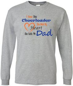 Cheer dad shirt.  Long sleeve in white or gray. by PinkPigPrinting