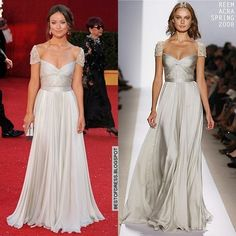 Olivia Wilde out shinned everyone at the 2008 Emmy Awards in this Spring 2008 Reem Acra off-white, slightly silver gown with delicately beaded cap sleeves.