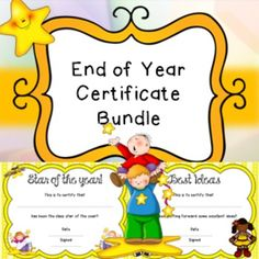 End Of Year Certificate Bundle Awards RewardsIncludes 32 different certificates in PDF version.Some include;Star of yearPhonics ChampionOut of this WorldEager BeaverMusical GeniusetcClick here to view more of my end of year products*********************************************************************If you purchase this product I would very much appreciate you coming back to this page at one point to leave some feedback, this will also help you to gain extra credits! :)If you like my…