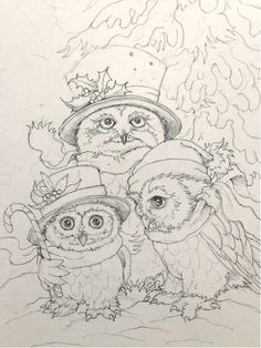 Christmas owls by Jody Bergsmas. Permission to print out for personal coloring use. Remember to adjust the lighting and contrast before printing if you don't want to print that grey tint.