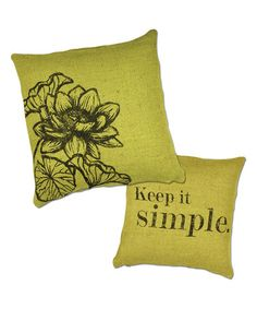 Look what I found on #zulily! Green Flower Jute Throw Pillow #zulilyfinds •Outer: 100% jute •Filling: 100% polyester •Machine wash •Imported $20