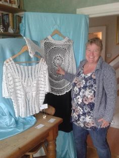 Crochet tops on display at Sally's open house for Adur Arts Festival.