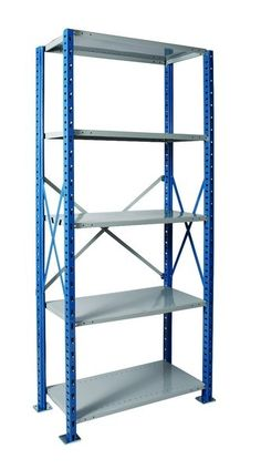 - Easy and secure ordering online, order your H-post open shelving unit today!Our H-Posts open shelving unitHeavy duty starter unit has blue posts side sway braces and side panels and gray shelves, back sway braces and back panels. Usually ships in 3 to 5 business days.Note: For each row of connected shelving units, you will need one starter unit and as many adder units as it takes to fill the rest of the row.