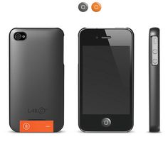 Coque de protection Lab.C USB 8go pour iPhone 4/4S (Gris Anthracite / Orange)