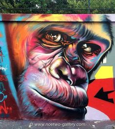 Distinguished Artist @NoeTwo_ART nature in Street Art wall located in Paris, France