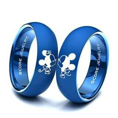 Couple Set Blue Tungsten Band with Domed Edge Mickey & Minnie Mouse Pattern Wedding Ring Blue Wedding Rings, Wedding Ring Styles, Blue Rings, Wedding Band, Mickey Mouse Wedding, Mickey Minnie Mouse, Disney Mickey, Diamond Crown Ring, Silver Claddagh Ring