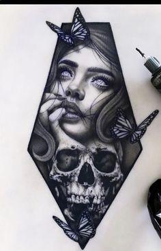 Skull Girl Tattoo, Girl Face Tattoo, Skull Tattoos, Cute Tattoos, Big Tattoo, Beautiful Tattoos, Body Art Tattoos, Sleeve Tattoos, Tattoo Design Drawings
