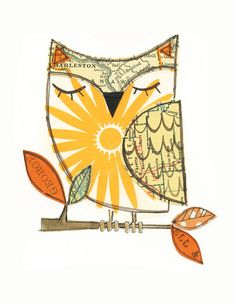 CHARLES - collage owl matted giclee print- 5x7 lil art card - with envelope