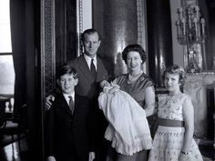 Queen Elizabeth II and Prince Philip with Prince Charles, Princess Anne and Prince Andrew.