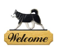 3 Coat Styles-Alaskan Malamute Welcome Sign Home,Yard & Garden Dog Wood Signs Products & Gifts #PSMarketingINC