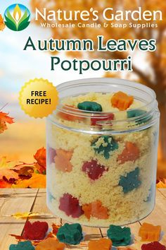 Autumn Leaves Potpourri recipe is available for free at Natures Garden Candles. This free homemade potpourri recipe is an easy potpourri recipe for fall. Homemade Potpourri, Potpourri Recipes, Homemade Candles, Diy Candles, Garden Candles, Soap Supplies, How To Make Homemade, Candle Making, Halloween Crafts