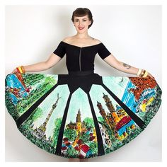 Easily the most EPIC #1950s #handpainted #Mexican #circleskirt I've ever seen | fits a small/medium, just listed in my Etsy shop! #50sstyle #rockabilly #mexicanskirt #noveltyprint #vintagestyle #1950sstyle #pinup #pinupstyle