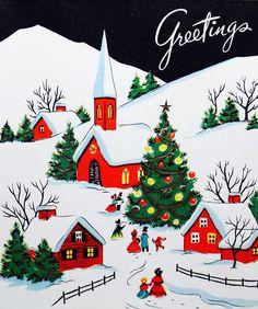 Christmas Greetings. Christmas Village. Vintage Christmas Card. Retro Christmas Card.