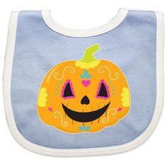 Inktastic Sugar Skull Pumpkin Baby Bib Orange Day Of The Dead Cute Book Life Halloween Mexico Hispanic Goth Gift Clothing Infant, Blue