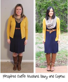 Pinspired: Mustard Cardigan, Navy Dress, Cognac Belt and Boots - The Style Files