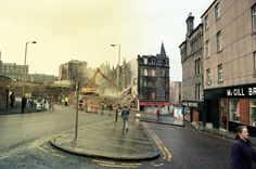The demolition of tenement buildings on the foot of the Hilltown to make way for the new tunnel underneath Dundee City, Make Way, Historical Photos, Great Britain, Old Photos, Scotland, Street View, Buildings, Photographs