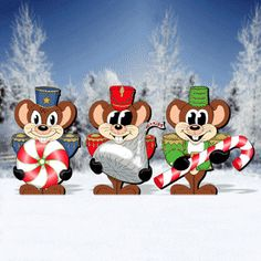 "Nut cracking Candy Capers Pattern:  These cute little guys disguised themselves as nutcrackers only to get close enough to the candied goods. 3 Designs! Largest is 28""H x 25""W.   Pattern #2155  $12.95   ( crafting, crafts, woodcraft, pattern, woodworking, yard art ) Pattern by Sherwood Creations"