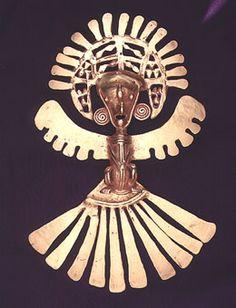 Pre-Columbian Art / Gold Pectoral of a Shaman in an Avian Costume - FJ.6215 Origin: Cauca, Colombia Circa: 1150 AD to 1600 AD