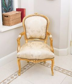Antique French cream/gold hand-made carver chair