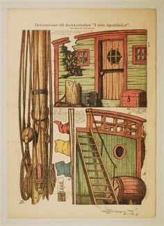 """Dekorationer till dockkomedien """"I sista ögonblicket"""". In: Allers Familj-Journal N:r. 2 10. jan. 1928"""