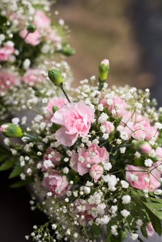 DIY Mint Julep Cup Flower Arrangements with Pink Carnations, Baby's Breath, and Leatherleaf A Year of Flower Arrangements: April   Tulle and Trinkets Blog