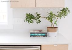 Both the hex-tiled backsplash and the minimalist cabinet hardware are great.