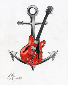 Tattoo commission finished! I'm pretty pleased with how it turned out.  #Art #Artist #Drawing #Illustration #DailyArt #InstaDraw #InstaArt #InstaArtist #InstaGood #WorldofArtists #RochesterArtist #Ink #PigmaMicron #Markers #Copic #CopicMarkers #Tattoo #Anchor #Guitar #Gibson #Nautical #Music