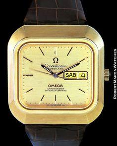 OMEGA-CONSTELLATION-18K-AUTOMATIC-SQUARE-TV-CASE-1970s-CHRONOMETER