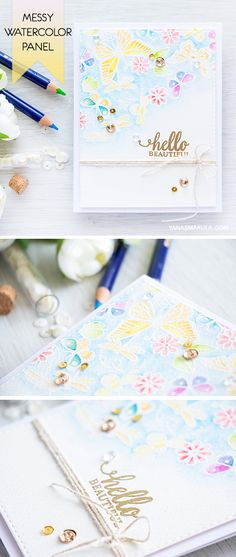 Create a messy watercolor panel with Hero Arts Stamps (Butterfly Pair and Love Bug) and Derwent Inktense watercolor pencils. For details, visit http://www.yanasmakula.com/?p=54132