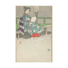 Evening Rain Japanese Vintage Wrapped Canvas #japan #art #vintage #home #design #geisha