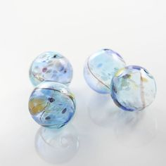 Hand Blown Hollow Glass Beads - Blue with Multiple Colors (23H)