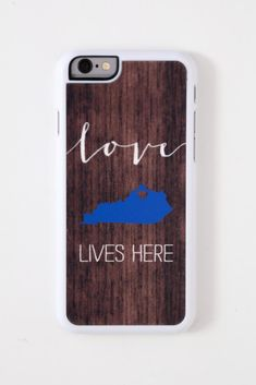 State of Kentucky 'Love lives here' iPhone case. The state of KY is the color blue and has a heart over Northern KY. Fits the iPhone 6 (does NOT fit the iPhone 6 plus).  This hard plastic iPhone case has been designed to fit the iPhone 6. It provides ligh