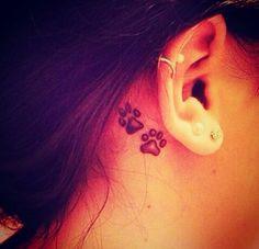 Dog tattoo, ear, small tattoo, girls