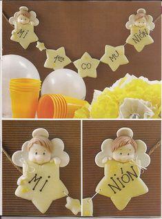 Visita la entrada para saber más Polymer Clay Figures, Ideas Para Fiestas, Pasta Flexible, Kids Events, Cold Porcelain, Clay Art, Christening, Cake Toppers, Decoupage