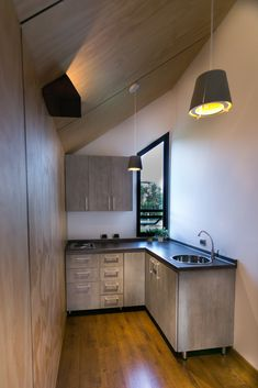 Prototipo Extend® 47m2 Sala de Negocios y Ventas Cocina Tipo L Interior Exterior, Corner Desk, Kitchen Cabinets, Furniture, Home Decor, Work Spaces, Prefab Homes, Columns, Atelier