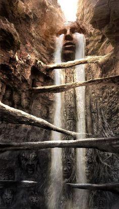Fantasy waterfall in a sacred place? Fantasy Places, Fantasy World, Digital Art Illustration, Fantasy Kunst, Concept Art World, Fantasy Setting, Tears Of Joy, Fantasy Landscape, Landscape Concept