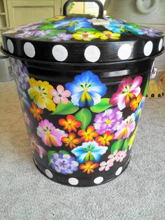 10 Gallon Hand Painted Galvanized Can by krystasinthepointe, $99.00
