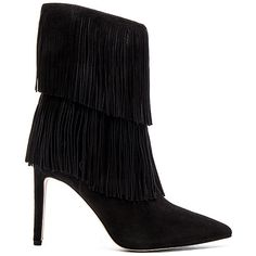 Sam Edelman Belinda Boot Shoes ($200) ❤ liked on Polyvore featuring shoes, boots, ankle booties, ankle boots, high heel booties, fringe ankle booties, faux boots, side zipper boots and fringe boots
