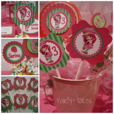 "Strawberry Shortcake birthday party Personalized cupcake toppers favors tags custom Printable 2"" circles  PartyTales by ShopPartyTales on Etsy https://www.etsy.com/listing/94343740/strawberry-shortcake-birthday-party"
