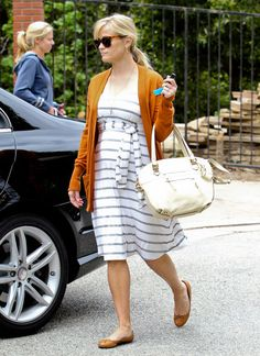 Striped dress.burnt orange cardigan.leather flats