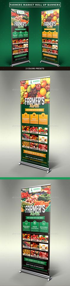 Farmer's Market Commerce Roll Up Banners Template #design Download: http://graphicriver.net/item/farmers-market-commerce-roll-up-banners/11071296?ref=ksioks