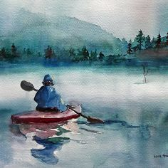 Misty Morning by Lora Garcelon Watercolor painting of a kayaker on a misty lake. Painted on 140lb Fabriano cold-pressed paper. Location: Pittsburg, New Hampshire. From a photo by Michael Edward of Wetcanvas.
