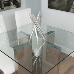 Soler Brushed Square Glass Dining Table | Overstock.com Shopping   The Best  Deals On