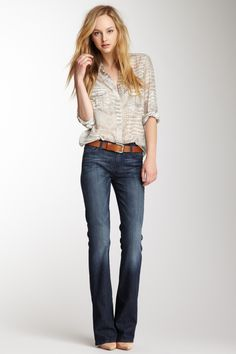 Jeans with a sheer blouse. Simple, cute, chic